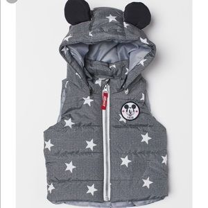H&M Mickey Mouse Grey Zip-Up Padded Vest w/ Hood